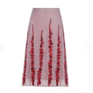 BCBG MaxAzria Floral Embroidered Midi Skirt